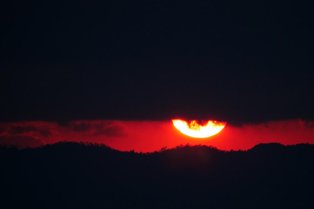 将軍塚から見る夕暮れの写真素材