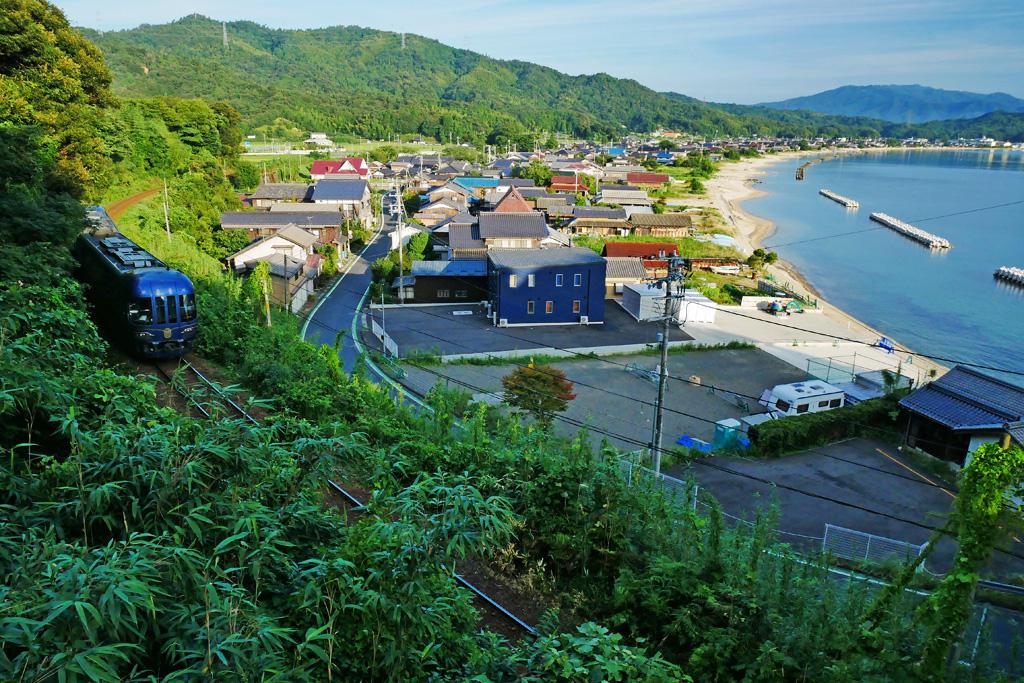 栗田湾 京都丹後鉄道の写真素材