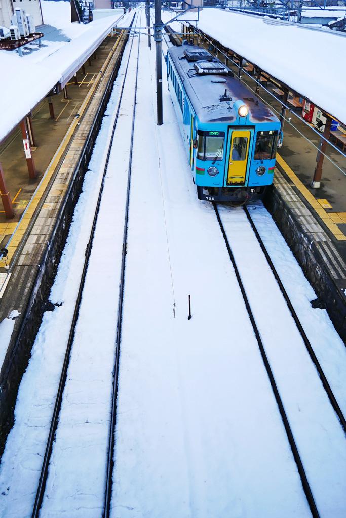 雪 京都丹後鉄道 天橋立駅の写真素材