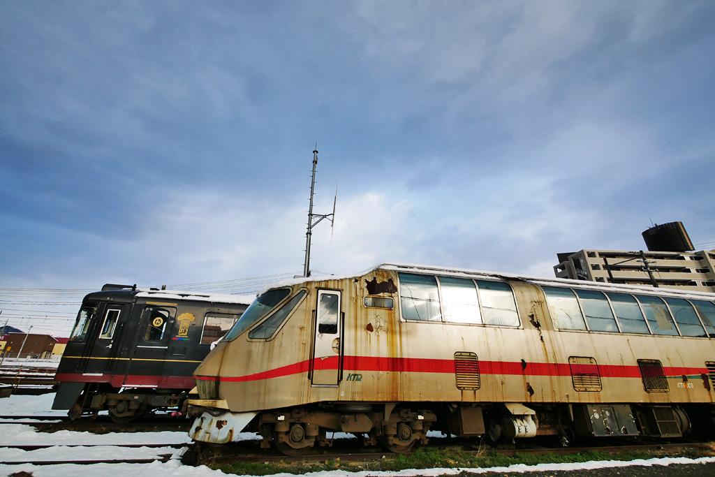 雪 京都丹後鉄道 西舞鶴駅の写真素材