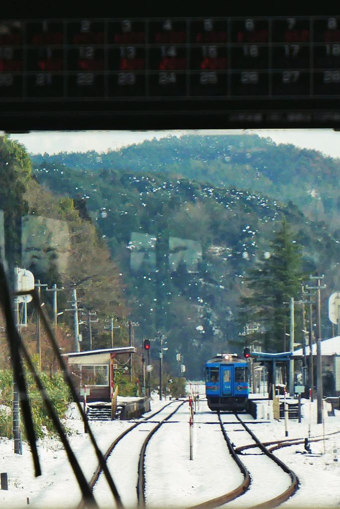 雪 京都丹後鉄道 東雲駅の写真素材