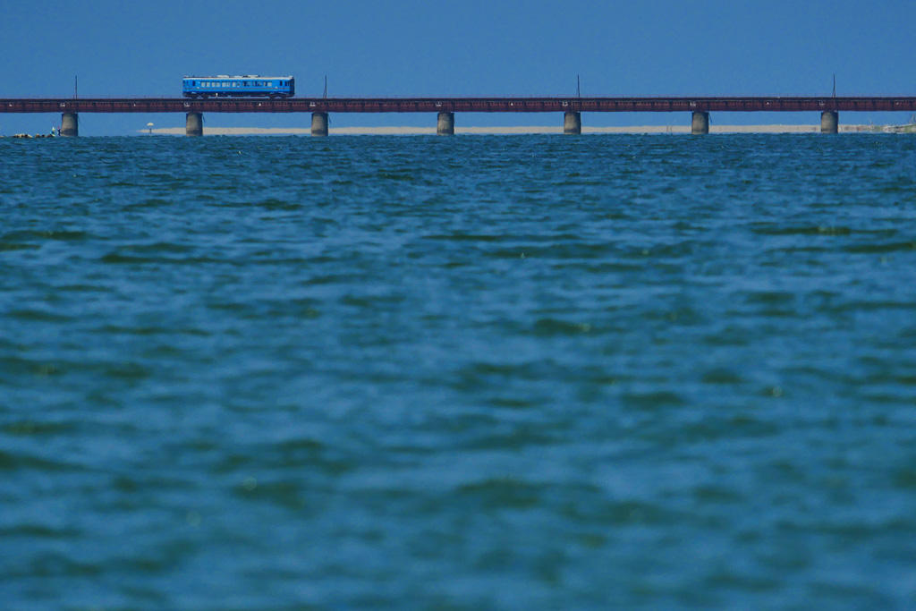 京都丹後鉄道 由良川橋梁の写真素材