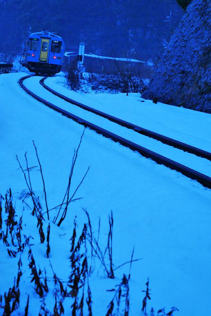 雪 京都丹後鉄道の写真素材