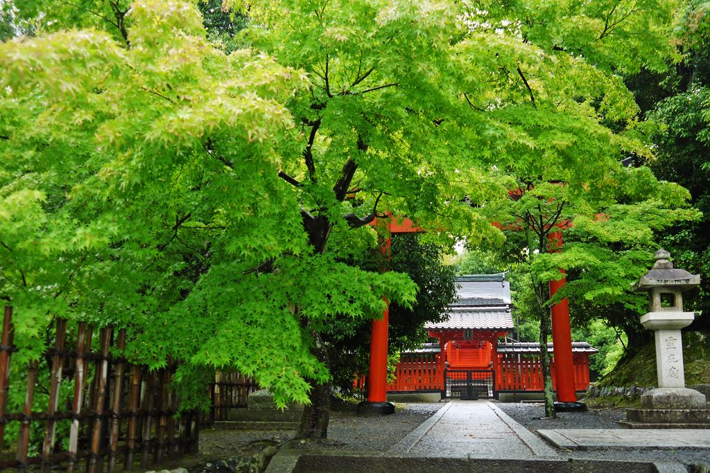 天龍寺の神社の写真素材