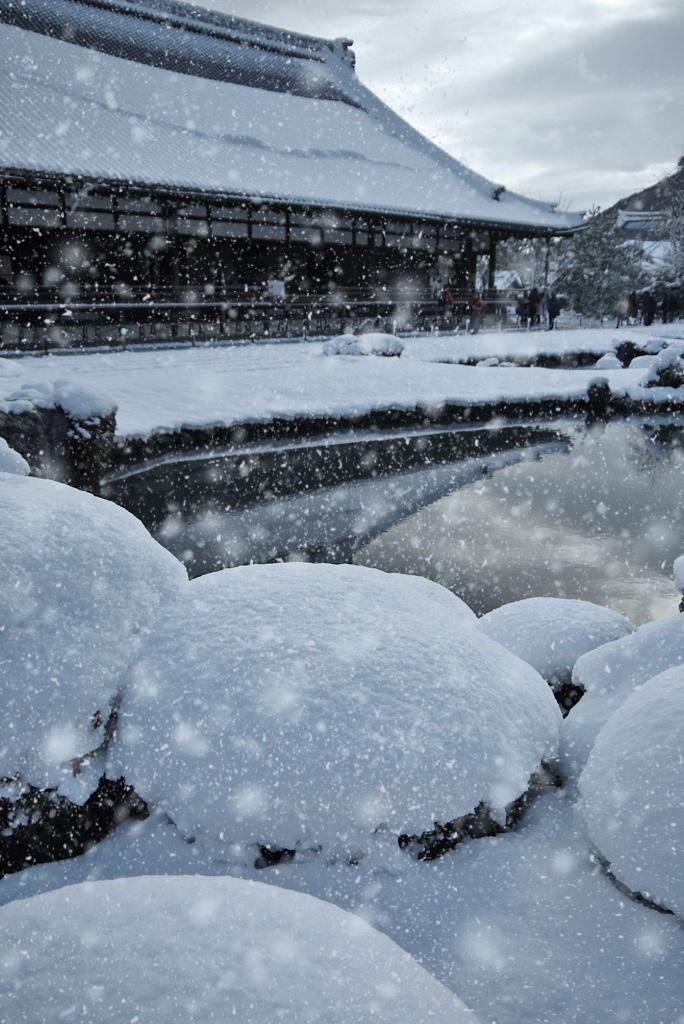 天龍寺の雪景色の写真素材
