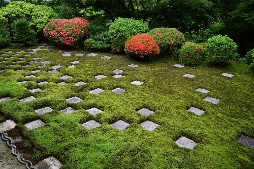 東福寺方丈のハートのサツキの写真素材