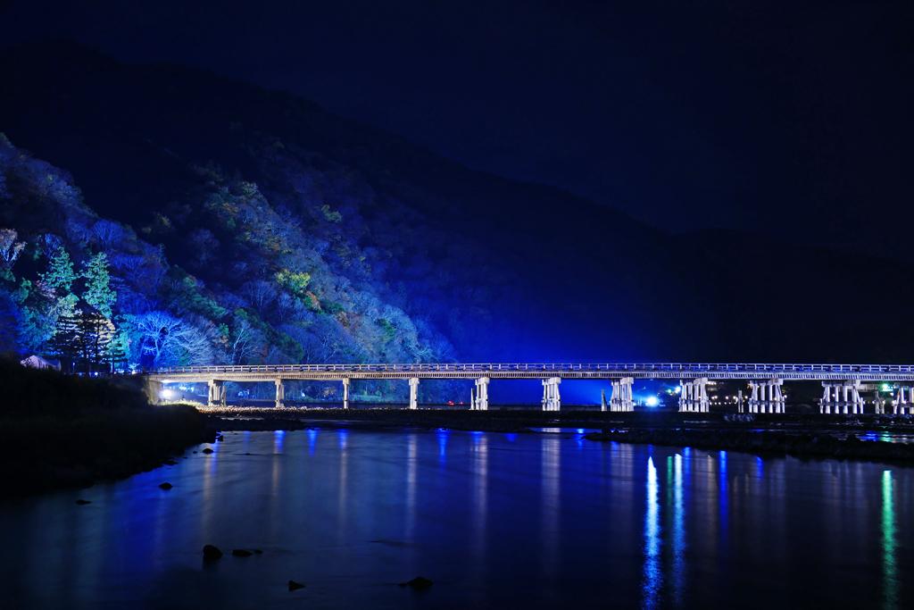 嵐山花灯路 渡月橋の写真素材