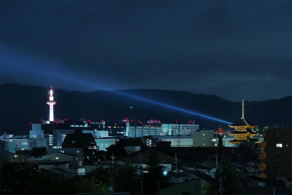 京都タワーと東寺と清水寺の夜景の写真素材