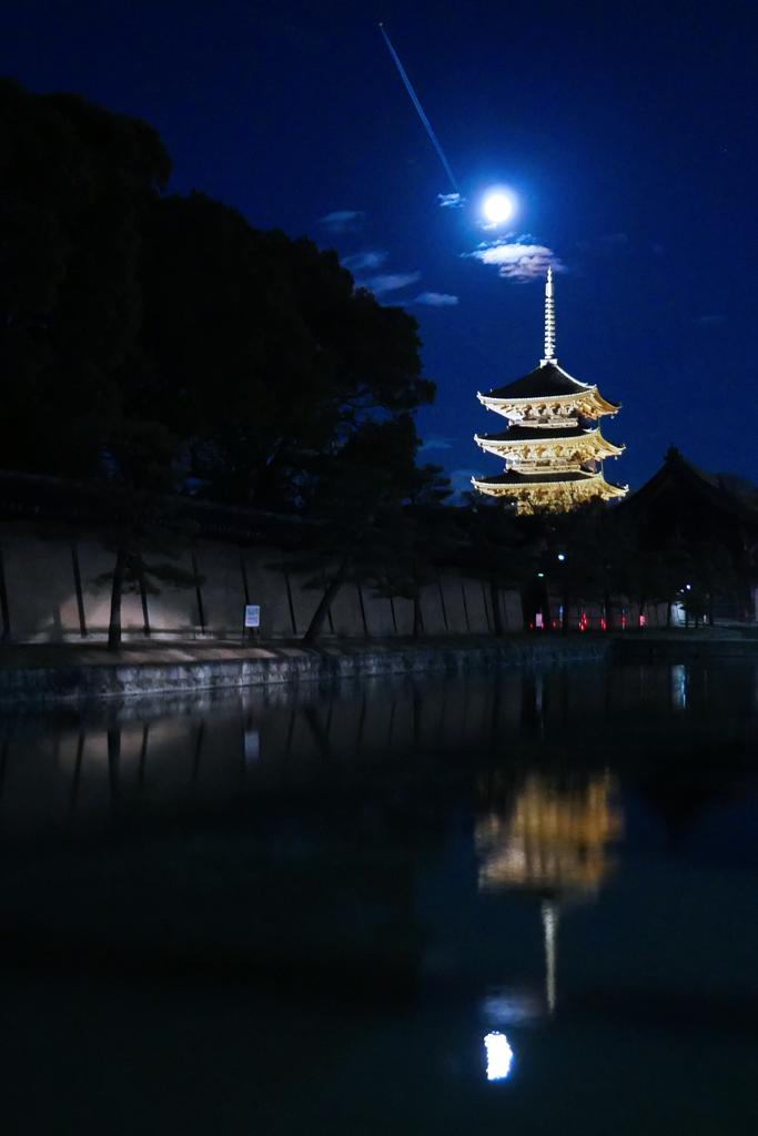 東寺のライトアップの写真素材