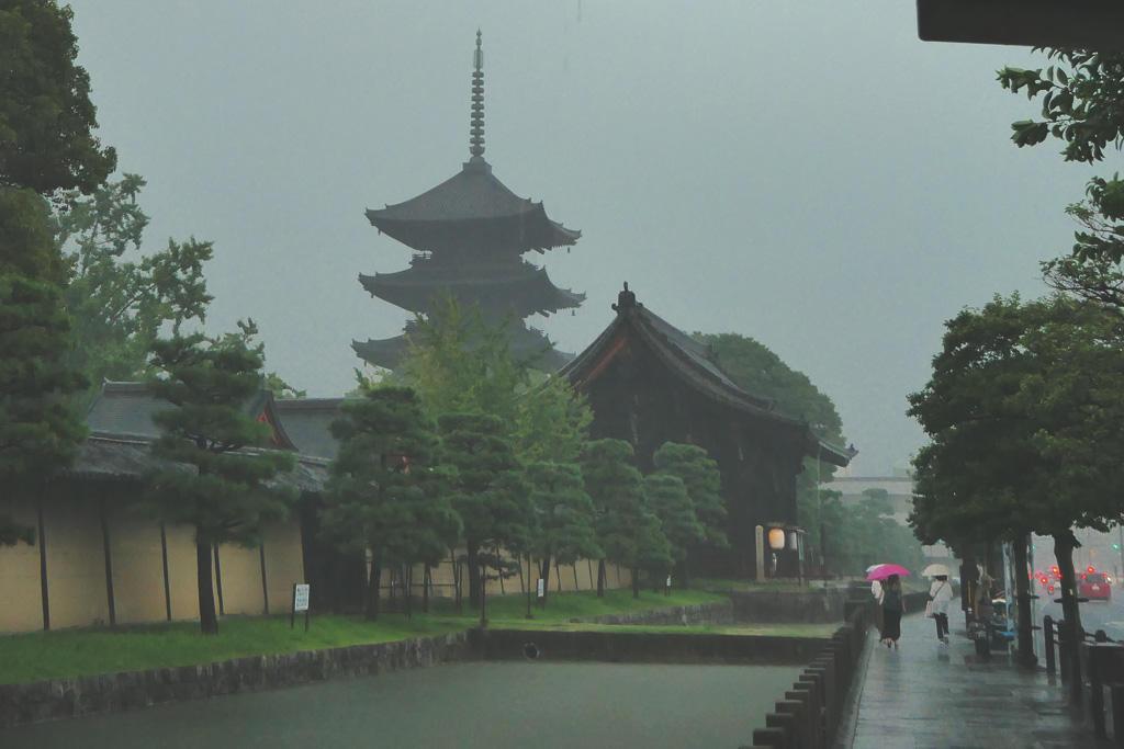 雨の東寺の写真素材