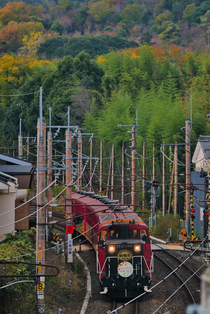 嵯峨野トロッコ列車の写真素材