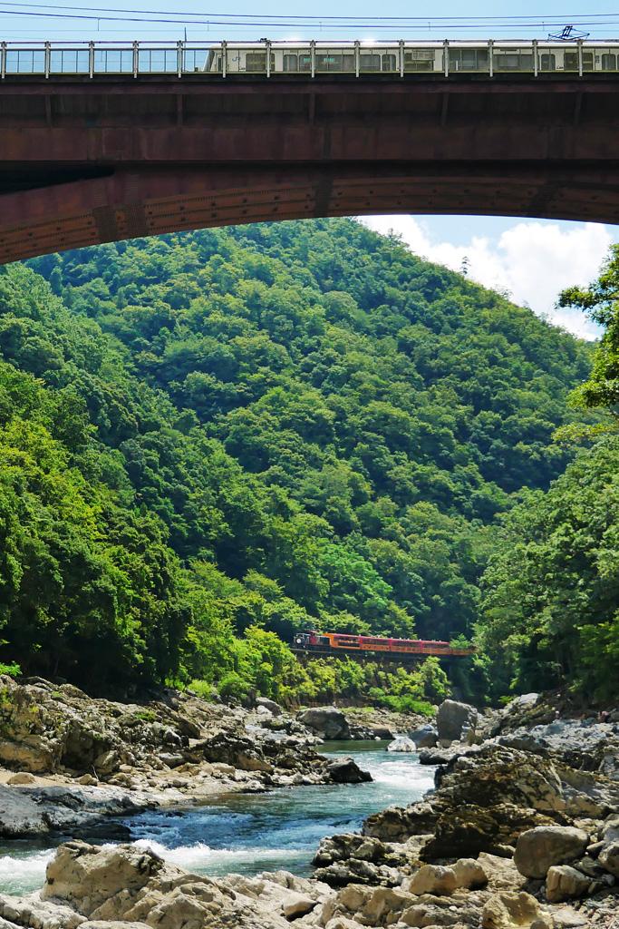保津峡 嵯峨野トロッコ列車の写真素材