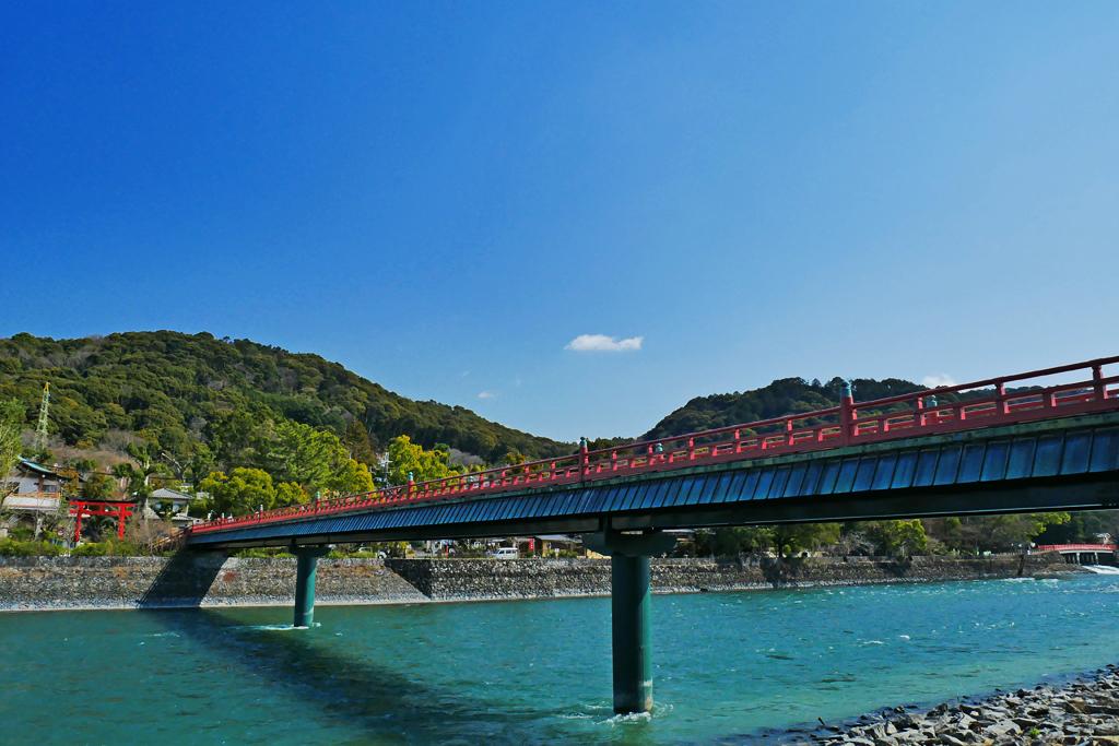 宇治川 朝霧橋の写真素材