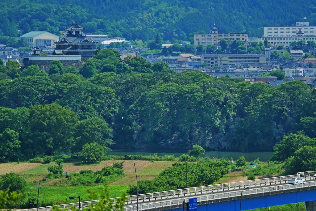 由良川と福知山城の写真素材